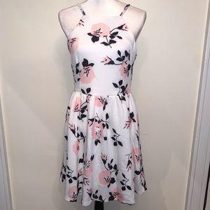 Floral Print Halter Backless Skater Dress Size M